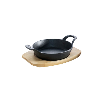 Cast-iron Pan with 2 handles and wood coaster ø 12 cm